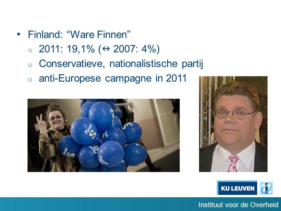 Instituut voor de Overheid Finland: Ware Finnen o 2011: 19,1% ( 2007: 4%) o Conservatieve, nationalistische partij o anti-Europese campagne in 2011