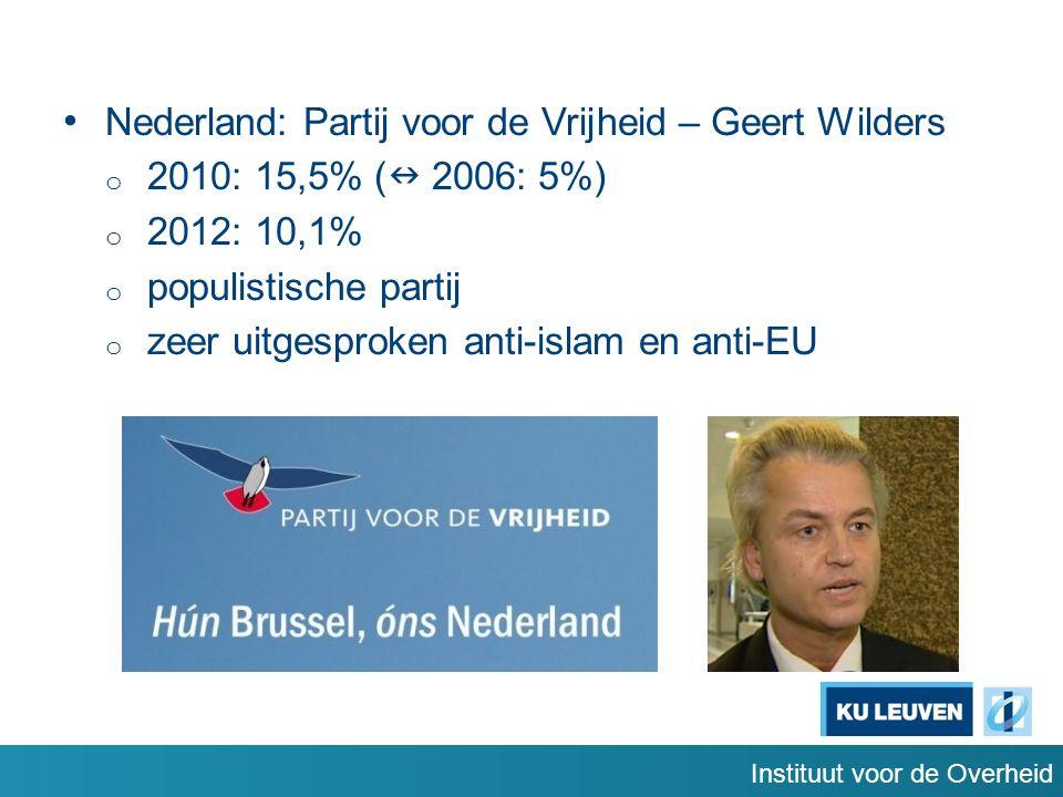 Instituut voor de Overheid Nederland: Partij voor de Vrijheid – Geert Wilders o 2010: 15,5% ( 2006: 5%) o 2012: 10,1% o populistische partij o zeer uitgesproken anti-islam en anti-EU