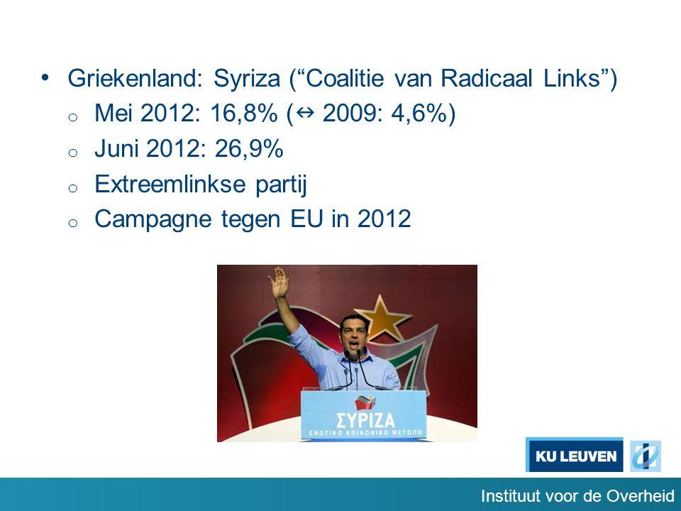 Griekenland: Syriza ( Coalitie van Radicaal Links ) o Mei 2012: 16,8% ( 2009: 4,6%) o Juni 2012: 26,9% o Extreemlinkse partij o Campagne tegen EU in 2012