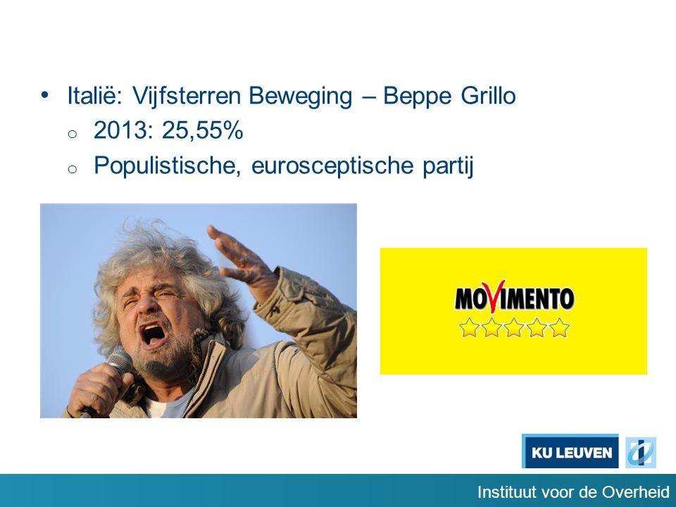 Instituut voor de Overheid Italië: Vijfsterren Beweging – Beppe Grillo o 2013: 25,55% o Populistische, eurosceptische partij