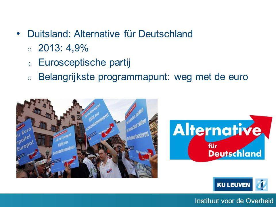 Instituut voor de Overheid Duitsland: Alternative für Deutschland o 2013: 4,9% o Eurosceptische partij o Belangrijkste programmapunt: weg met de euro