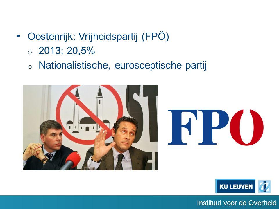 Instituut voor de Overheid Oostenrijk: Vrijheidspartij (FPÖ) o 2013: 20,5% o Nationalistische, eurosceptische partij