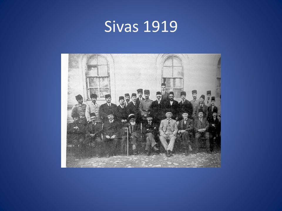 onafhankelijkheidsstrijd Congres van Erzurum (juli 1919) Congres van Sivas (september 1919) Nationale Pact (januari 1920): Gebieden met Moslim meerderheid vrij en verenigd binnen wapenstilstandsgrenzen