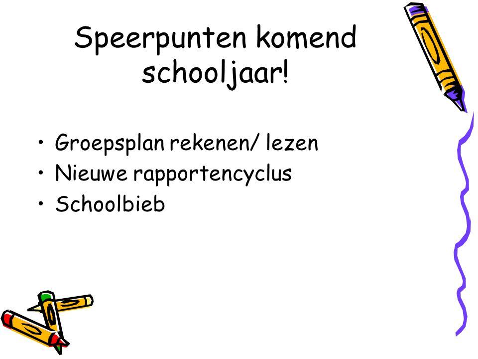 Speerpunten komend schooljaar! Groepsplan rekenen/ lezen Nieuwe rapportencyclus Schoolbieb
