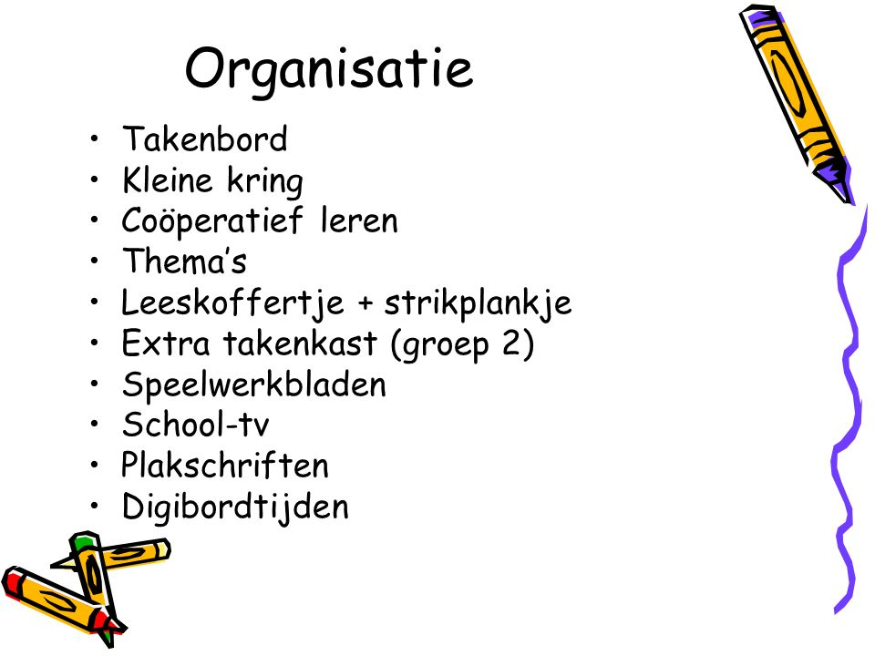 Organisatie Takenbord Kleine kring Coöperatief leren Thema's Leeskoffertje + strikplankje Extra takenkast (groep 2) Speelwerkbladen School-tv Plakschriften Digibordtijden