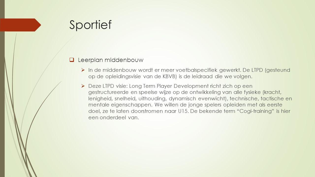 Sportief  Leerplan middenbouw  In de middenbouw wordt er meer voetbalspecifiek gewerkt.