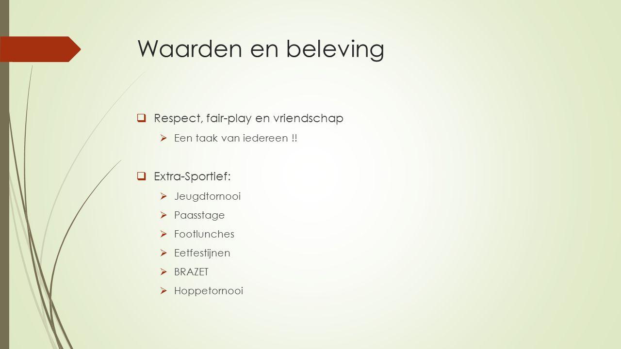 Waarden en beleving  Respect, fair-play en vriendschap  Een taak van iedereen !.