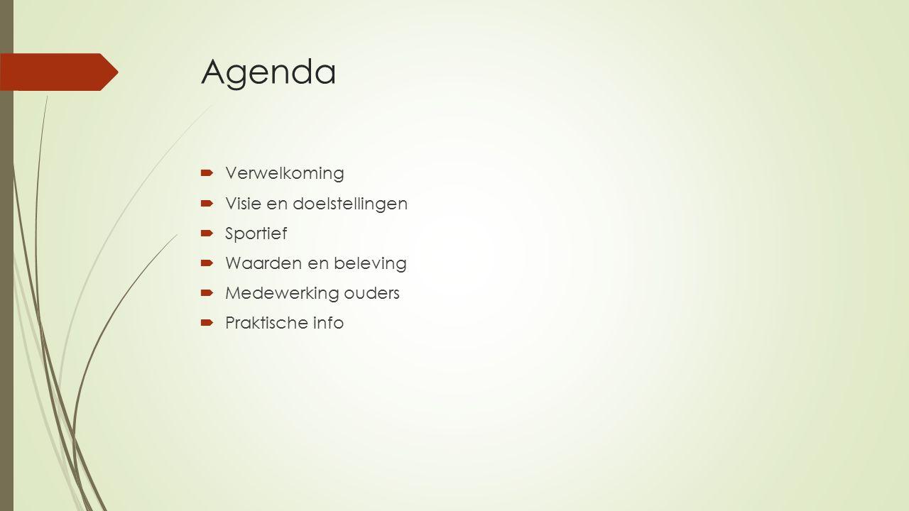 Agenda  Verwelkoming  Visie en doelstellingen  Sportief  Waarden en beleving  Medewerking ouders  Praktische info