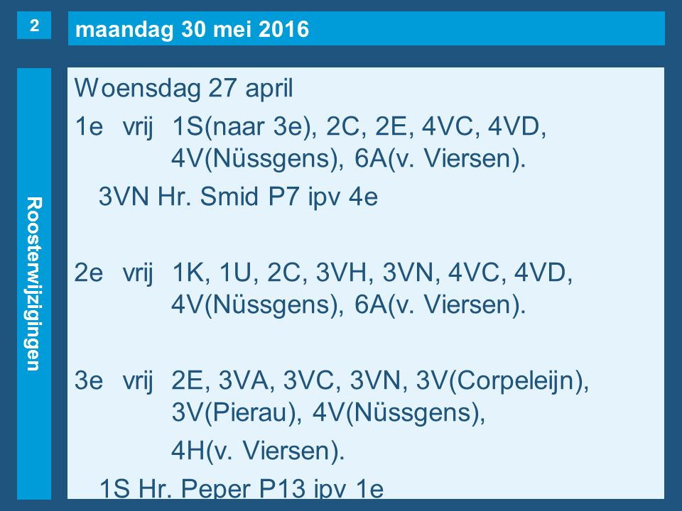 maandag 30 mei 2016 Roosterwijzigingen Woensdag 27 april 1evrij1S(naar 3e), 2C, 2E, 4VC, 4VD, 4V(Nüssgens), 6A(v. Viersen). 3VN Hr. Smid P7 ipv 4e 2ev