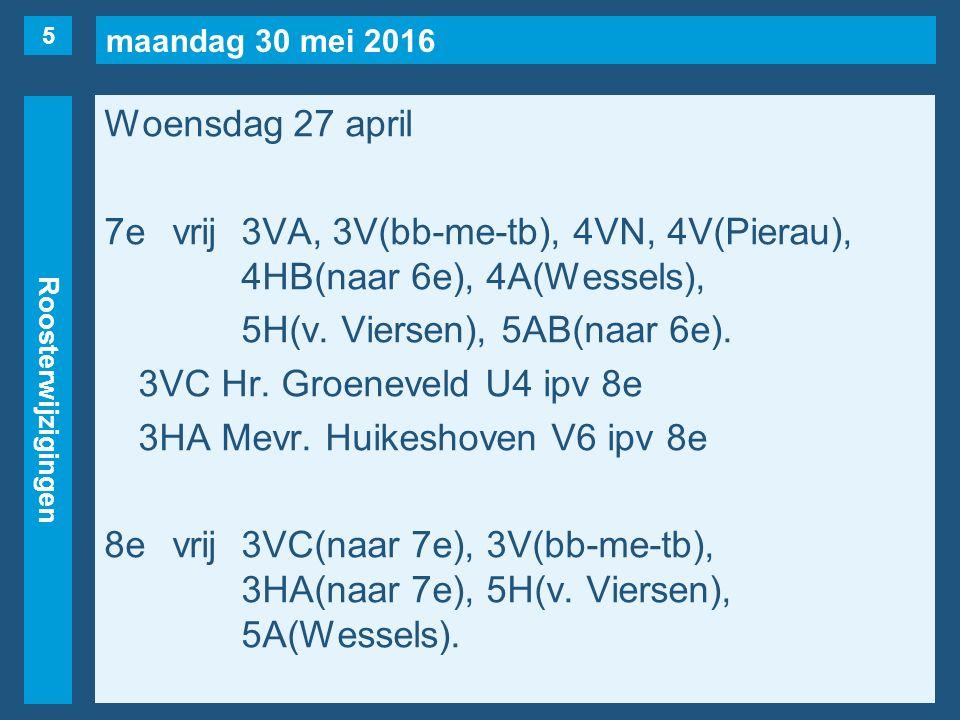 maandag 30 mei 2016 Roosterwijzigingen Woensdag 27 april 7evrij3VA, 3V(bb-me-tb), 4VN, 4V(Pierau), 4HB(naar 6e), 4A(Wessels), 5H(v. Viersen), 5AB(naar