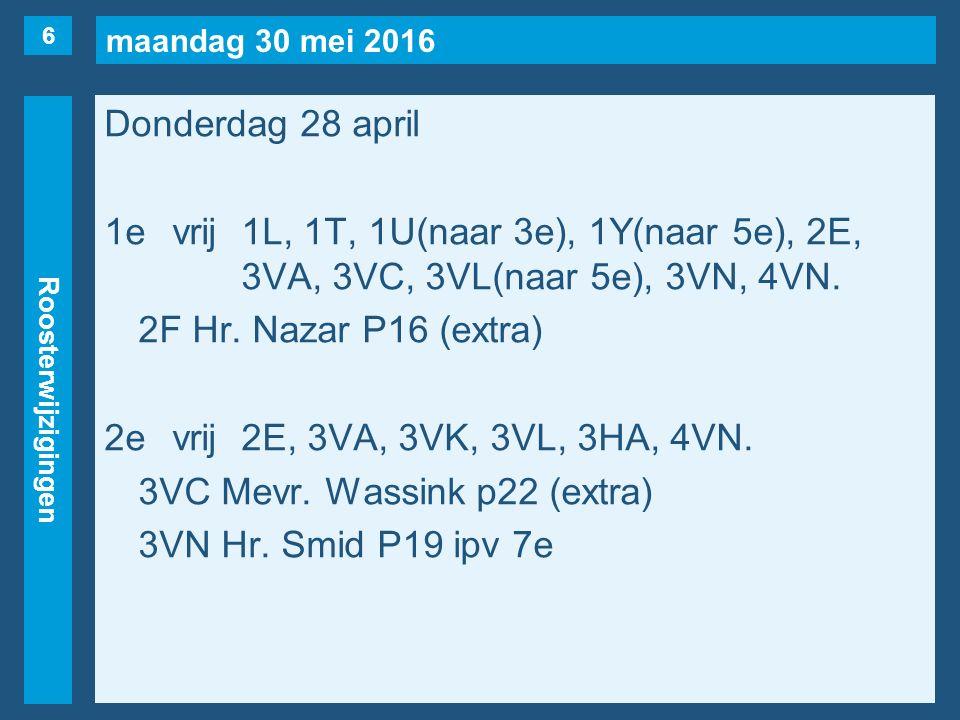 maandag 30 mei 2016 Roosterwijzigingen Donderdag 28 april 1evrij1L, 1T, 1U(naar 3e), 1Y(naar 5e), 2E, 3VA, 3VC, 3VL(naar 5e), 3VN, 4VN. 2F Hr. Nazar P