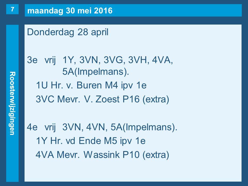 maandag 30 mei 2016 Roosterwijzigingen Donderdag 28 april 5evrij3VE, 3VF, 3VN, 3V(Pierau, maar…), 4VN.