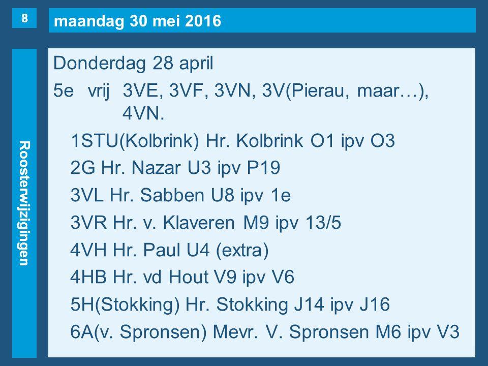 maandag 30 mei 2016 Roosterwijzigingen Donderdag 28 april 5evrij3VE, 3VF, 3VN, 3V(Pierau, maar…), 4VN. 1STU(Kolbrink) Hr. Kolbrink O1 ipv O3 2G Hr. Na