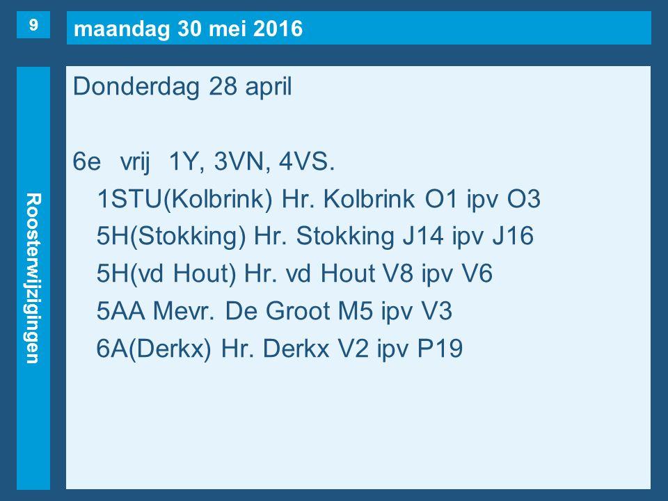 maandag 30 mei 2016 Roosterwijzigingen Donderdag 28 april 6evrij1Y, 3VN, 4VS. 1STU(Kolbrink) Hr. Kolbrink O1 ipv O3 5H(Stokking) Hr. Stokking J14 ipv