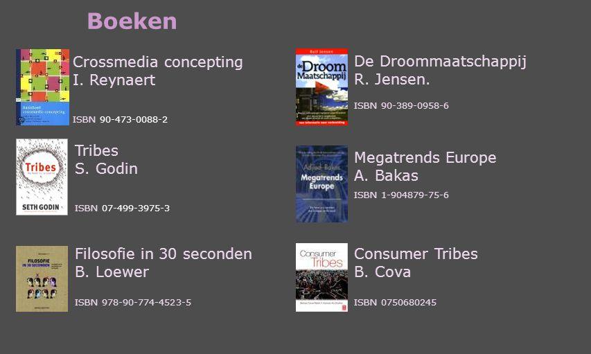 Boeken Crossmedia concepting I. Reynaert ISBN 90-473-0088-2 Tribes S. Godin ISBN 07-499-3975-3 Megatrends Europe A. Bakas ISBN 1-904879-75-6 De Droomm