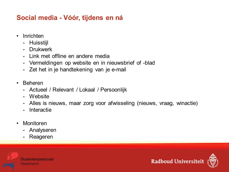 Social media - Vóór, tijdens en ná Inrichten -Huisstijl -Drukwerk -Link met offline en andere media -Vermeldingen op website en in nieuwsbrief of -bla