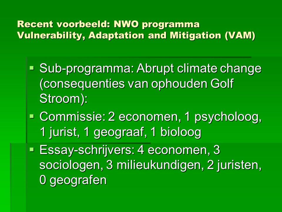 Recent voorbeeld: NWO programma Vulnerability, Adaptation and Mitigation (VAM)  Sub-programma: Abrupt climate change (consequenties van ophouden Golf Stroom):  Commissie: 2 economen, 1 psycholoog, 1 jurist, 1 geograaf, 1 bioloog  Essay-schrijvers: 4 economen, 3 sociologen, 3 milieukundigen, 2 juristen, 0 geografen