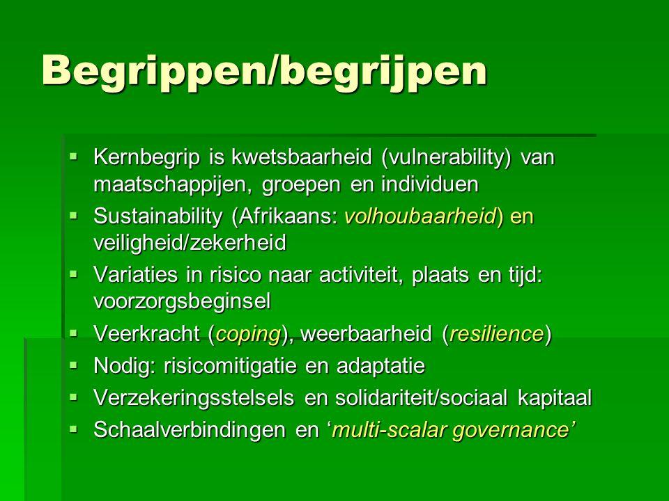 Begrippen/begrijpen  Kernbegrip is kwetsbaarheid (vulnerability) van maatschappijen, groepen en individuen  Sustainability (Afrikaans: volhoubaarheid) en veiligheid/zekerheid  Variaties in risico naar activiteit, plaats en tijd: voorzorgsbeginsel  Veerkracht (coping), weerbaarheid (resilience)  Nodig: risicomitigatie en adaptatie  Verzekeringsstelsels en solidariteit/sociaal kapitaal  Schaalverbindingen en 'multi-scalar governance'
