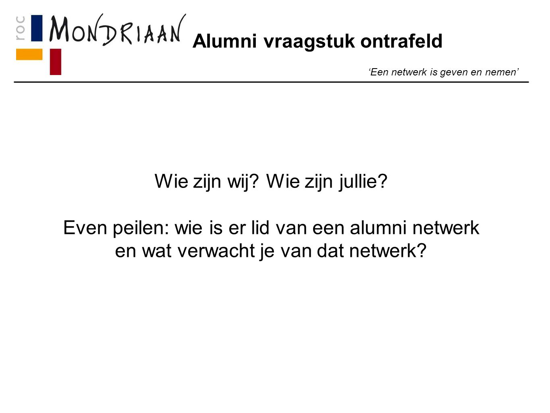 Alumni vraagstuk ontrafeld 'Een netwerk is geven en nemen' Wat gaan we doen.