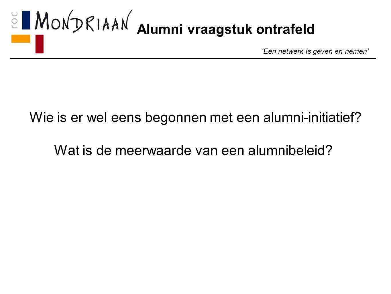 Alumni vraagstuk ontrafeld 'Een netwerk is geven en nemen' Wie is er wel eens begonnen met een alumni-initiatief.