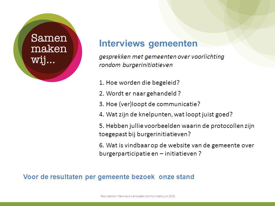 Interviews gemeenten Resultatnen interviews werkplaats communicatie juni 2015 1.