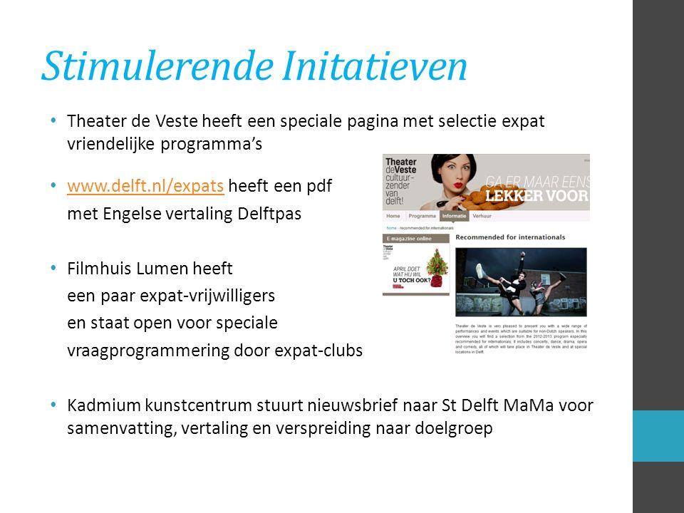 Stimulerende Initatieven Theater de Veste heeft een speciale pagina met selectie expat vriendelijke programma's www.delft.nl/expats heeft een pdf www.delft.nl/expats met Engelse vertaling Delftpas Filmhuis Lumen heeft een paar expat-vrijwilligers en staat open voor speciale vraagprogrammering door expat-clubs Kadmium kunstcentrum stuurt nieuwsbrief naar St Delft MaMa voor samenvatting, vertaling en verspreiding naar doelgroep