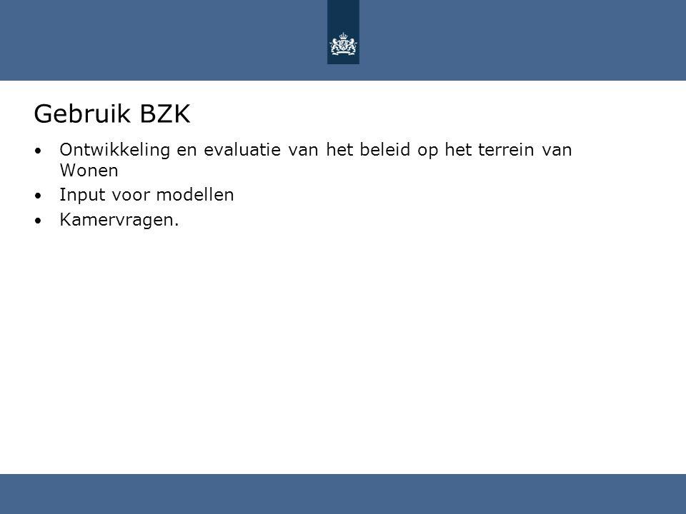 Gebruik BZK Ontwikkeling en evaluatie van het beleid op het terrein van Wonen Input voor modellen Kamervragen.