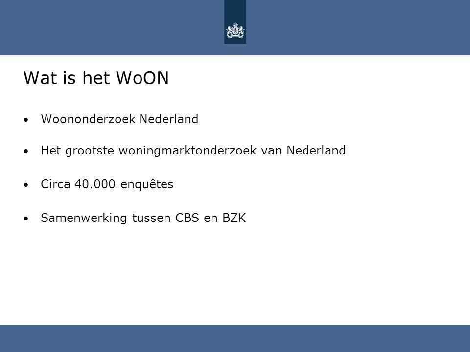 Wat is het WoON Woononderzoek Nederland Het grootste woningmarktonderzoek van Nederland Circa 40.000 enquêtes Samenwerking tussen CBS en BZK