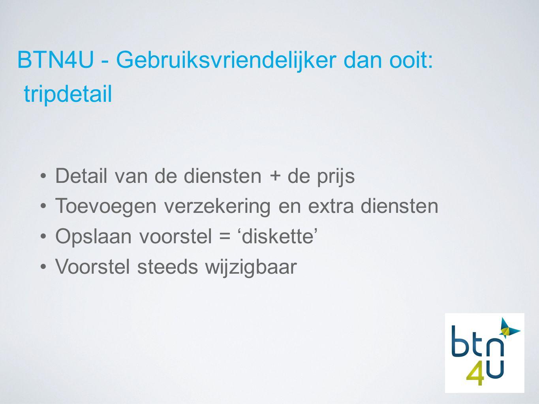 BTN4U - Gebruiksvriendelijker dan ooit: tripdetail Detail van de diensten + de prijs Toevoegen verzekering en extra diensten Opslaan voorstel = 'diskette' Voorstel steeds wijzigbaar