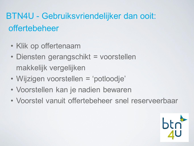 BTN4U - Gebruiksvriendelijker dan ooit: offertebeheer Klik op offertenaam Diensten gerangschikt = voorstellen makkelijk vergelijken Wijzigen voorstellen = 'potloodje' Voorstellen kan je nadien bewaren Voorstel vanuit offertebeheer snel reserveerbaar