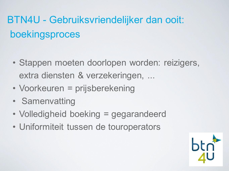 BTN4U - Gebruiksvriendelijker dan ooit: boekingsproces Stappen moeten doorlopen worden: reizigers, extra diensten & verzekeringen,...
