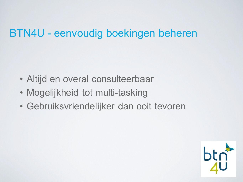 BTN4U - altijd en overal consulteerbaar Via elke PC/tabled met internetverbinding mits toelating kantoorverantwoordelijke (SSL) Onthouden: gebruikersnaam + paswoord Browser onafhankelijk
