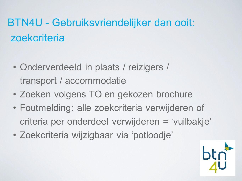 BTN4U - Gebruiksvriendelijker dan ooit: zoekcriteria Aantal kamers onmiddellijk ingeven Aantal reizigers ingeven + leeftijd Controle