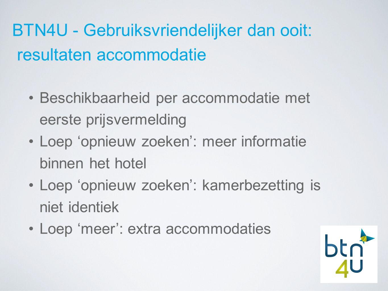 BTN4U - Gebruiksvriendelijker dan ooit: resultaten accommodatie Beschikbaarheid per accommodatie met eerste prijsvermelding Loep 'opnieuw zoeken': meer informatie binnen het hotel Loep 'opnieuw zoeken': kamerbezetting is niet identiek Loep 'meer': extra accommodaties