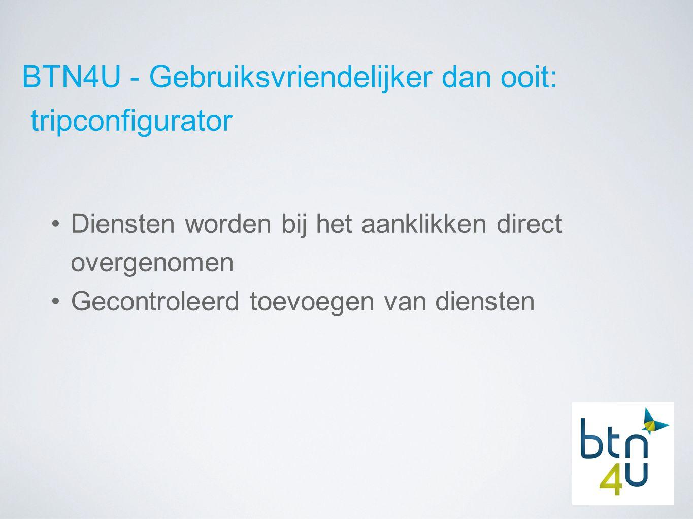 BTN4U - Gebruiksvriendelijker dan ooit: tripconfigurator Diensten worden bij het aanklikken direct overgenomen Gecontroleerd toevoegen van diensten