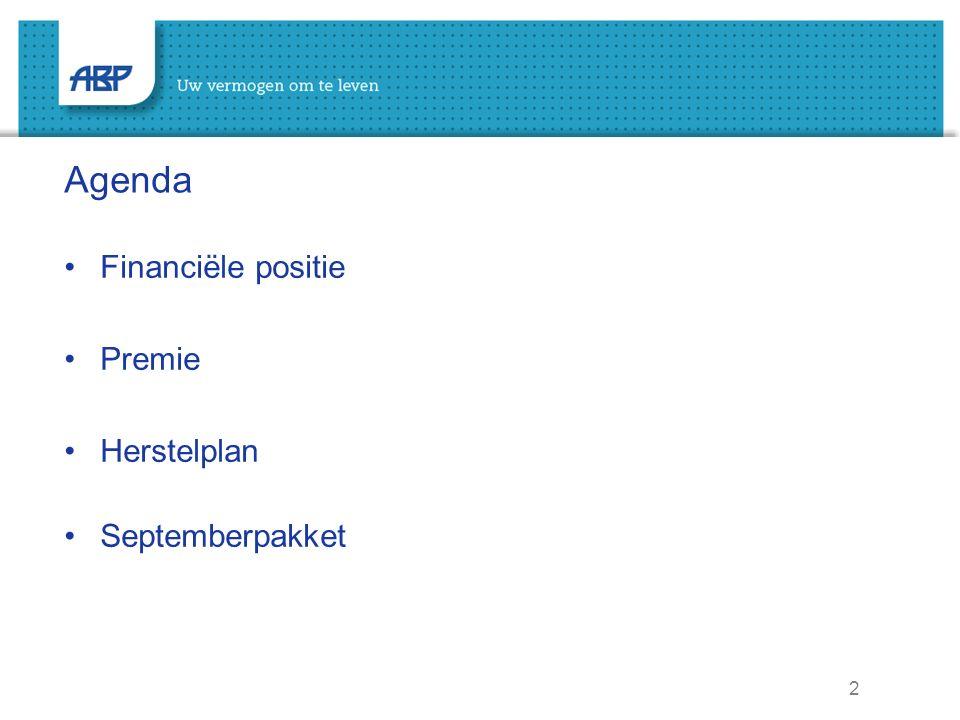 2 Agenda Financiële positie Premie Herstelplan Septemberpakket
