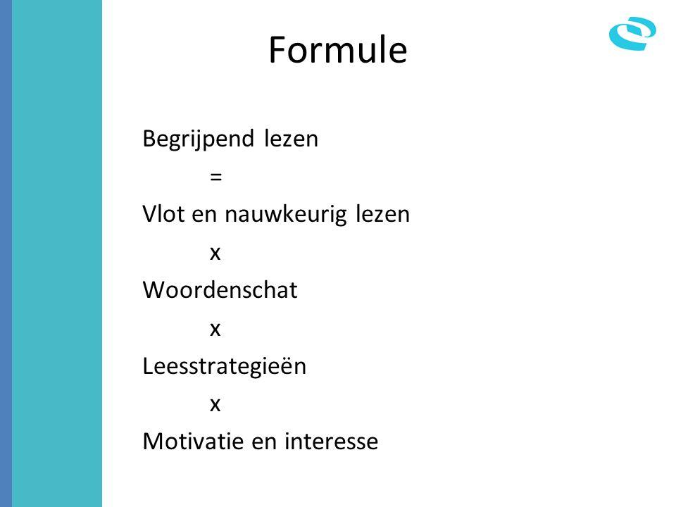 Formule Begrijpend lezen = Vlot en nauwkeurig lezen x Woordenschat x Leesstrategieën x Motivatie en interesse