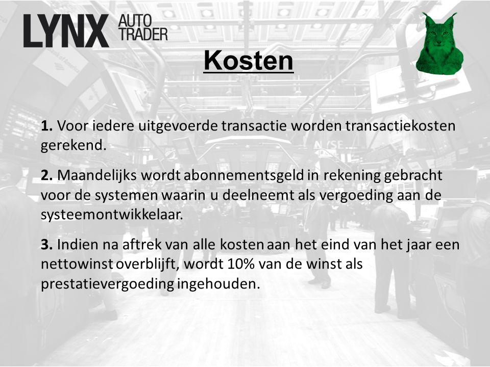 Kosten 1. Voor iedere uitgevoerde transactie worden transactiekosten gerekend.
