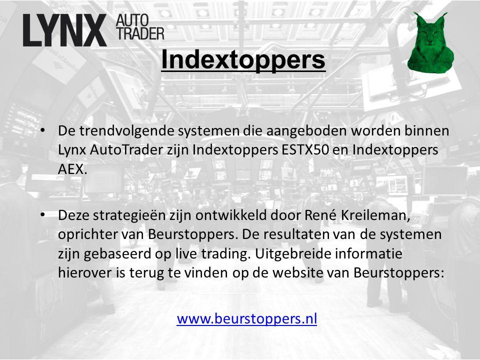 Indextoppers De trendvolgende systemen die aangeboden worden binnen Lynx AutoTrader zijn Indextoppers ESTX50 en Indextoppers AEX.