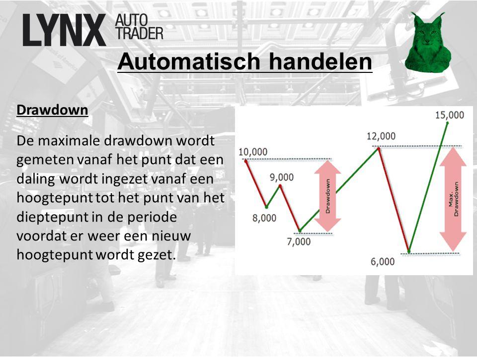 Automatisch handelen Drawdown De maximale drawdown wordt gemeten vanaf het punt dat een daling wordt ingezet vanaf een hoogtepunt tot het punt van het dieptepunt in de periode voordat er weer een nieuw hoogtepunt wordt gezet.