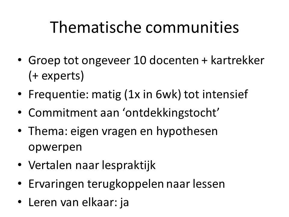 Thematische communities Groep tot ongeveer 10 docenten + kartrekker (+ experts) Frequentie: matig (1x in 6wk) tot intensief Commitment aan 'ontdekking