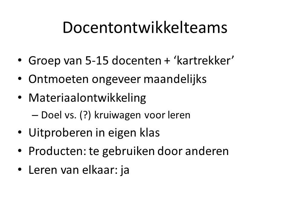Docentontwikkelteams Groep van 5-15 docenten + 'kartrekker' Ontmoeten ongeveer maandelijks Materiaalontwikkeling – Doel vs. (?) kruiwagen voor leren U