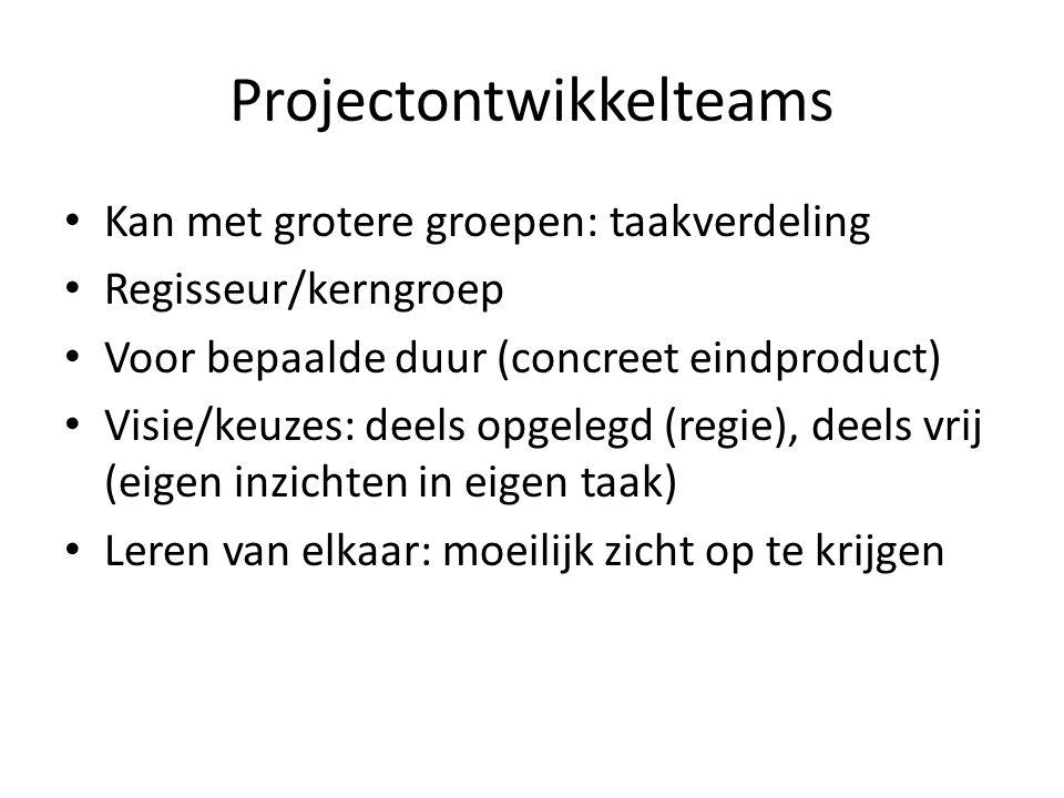 Projectontwikkelteams Kan met grotere groepen: taakverdeling Regisseur/kerngroep Voor bepaalde duur (concreet eindproduct) Visie/keuzes: deels opgelegd (regie), deels vrij (eigen inzichten in eigen taak) Leren van elkaar: moeilijk zicht op te krijgen