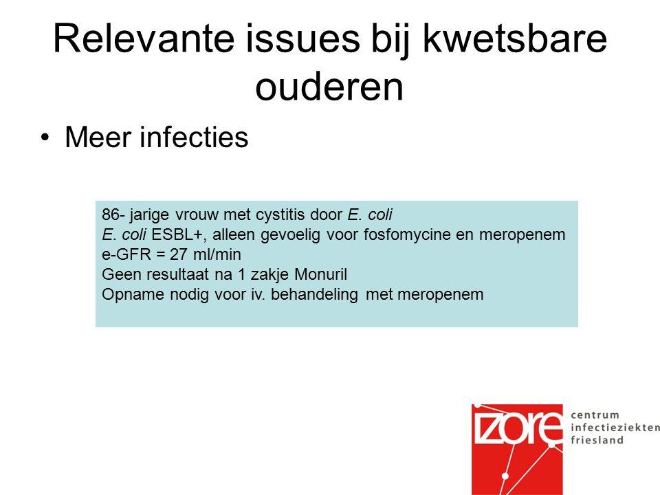 Relevante issues bij kwetsbare ouderen Meer infecties 86- jarige vrouw met cystitis door E.