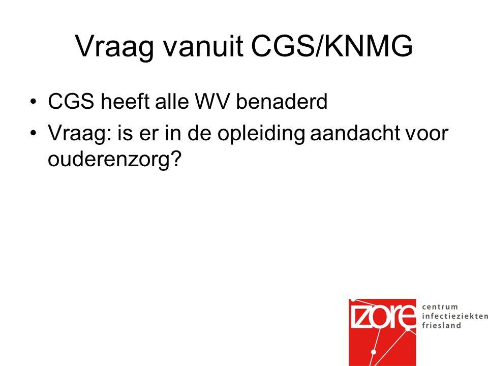 Vraag vanuit CGS/KNMG CGS heeft alle WV benaderd Vraag: is er in de opleiding aandacht voor ouderenzorg?