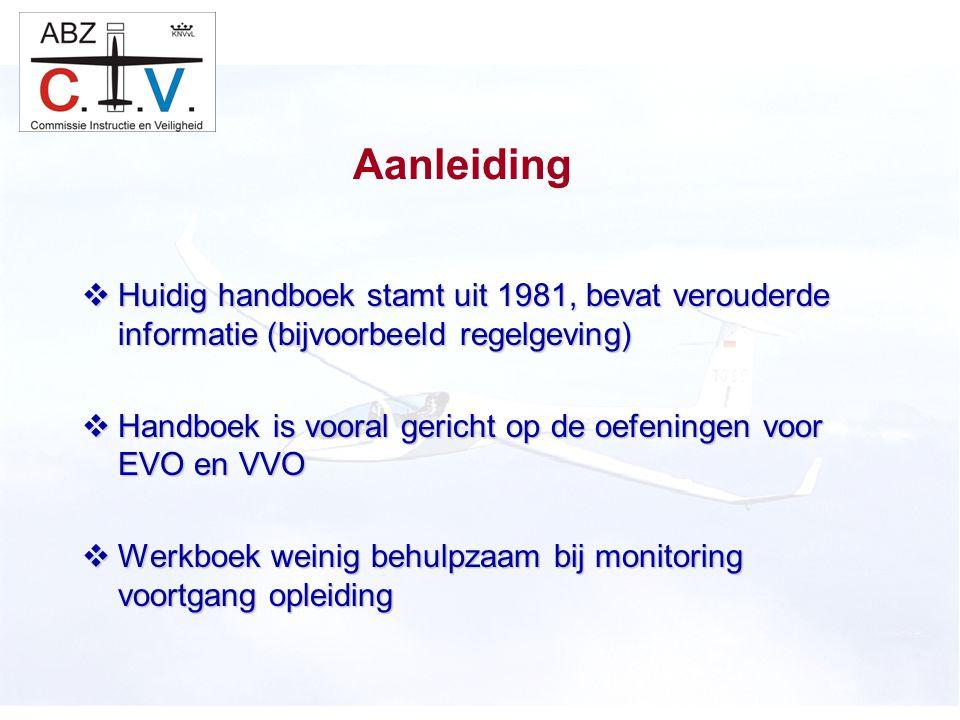 C.I.V.  Huidig handboek stamt uit 1981, bevat verouderde informatie (bijvoorbeeld regelgeving)  Handboek is vooral gericht op de oefeningen voor EVO