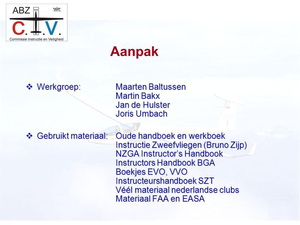 C.I.V.  Werkgroep:Maarten Baltussen Martin Bakx Jan de Hulster Joris Umbach  Gebruikt materiaal:Oude handboek en werkboek Instructie Zweefvliegen (B