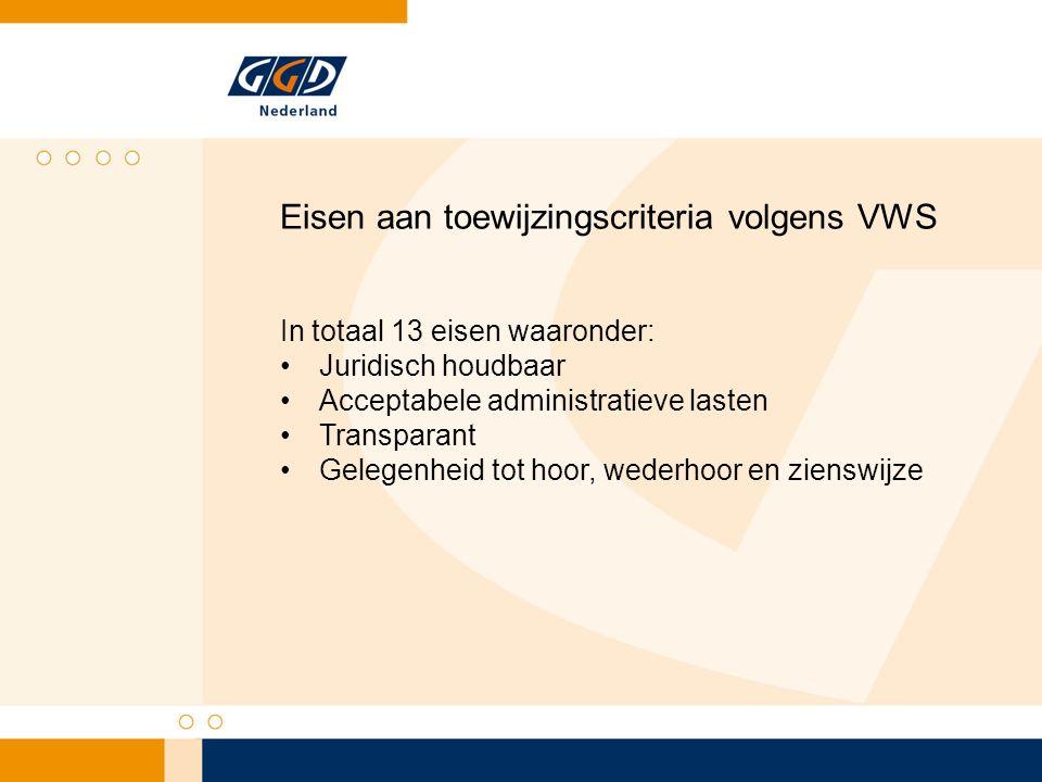 Eisen aan toewijzingscriteria volgens VWS In totaal 13 eisen waaronder: Juridisch houdbaar Acceptabele administratieve lasten Transparant Gelegenheid