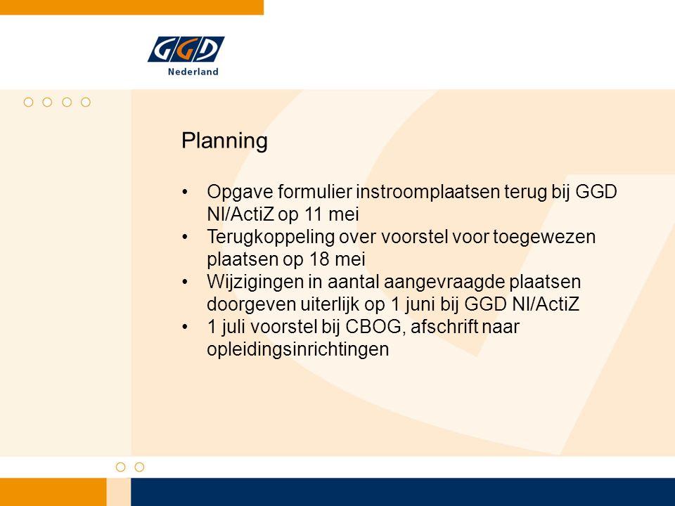 Planning Opgave formulier instroomplaatsen terug bij GGD Nl/ActiZ op 11 mei Terugkoppeling over voorstel voor toegewezen plaatsen op 18 mei Wijziginge
