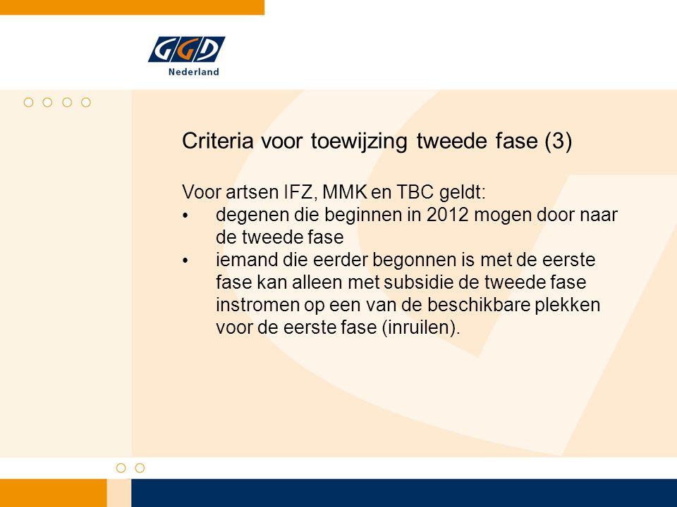 Criteria voor toewijzing tweede fase (3) Voor artsen IFZ, MMK en TBC geldt: degenen die beginnen in 2012 mogen door naar de tweede fase iemand die eer